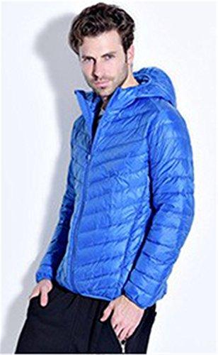 CRAVOG Daunenjacke Herren Winterjacke Männer Steppjacke Mit Kapuze Ultraleichte 90% Weiße Ente Outdoor Camping Wandern Mantel Outwear Blau