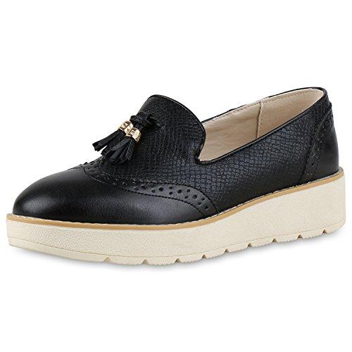 Bequeme Damen Slipper Tassel Loafer Profilsohle Flats Schuhe Schwarz Schwarz