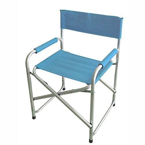Euronovità srl sedia blu da mare pieghevole modello regista in alluminio tubo robusto 24mm poltrona mare spiaggia giardino campeggio 81x57x34cm