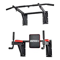 OneTwoFit Multifunctional Wall Mounted Pull Up Bar Set Chin Up Station Home Gym Workout Strength Training Equipment Fitness Dip Stand Supports to 330 Lbs OT076