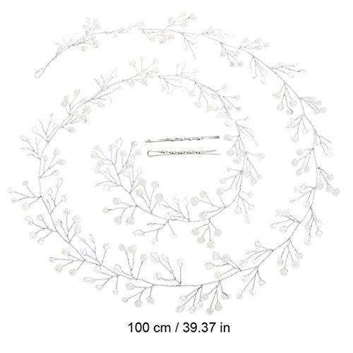 Catena testa Aukmla per sposa -Accessori matrimonio con strass di cristallo per donne e ragazze (colore argento) - 4