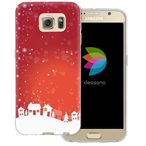 dessana Weihnachten Pattern transparente Schutzhülle Handy Case Cover Tasche für Samsung Galaxy S6 Weihnachtsdorf