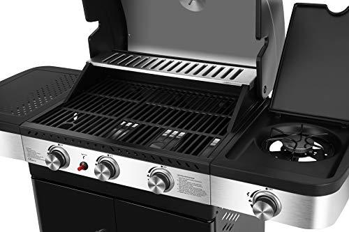 Gasgrill Brookline von EL Fuego® 3 + 1 Brenner Grill Smoker Grillwagen BBQ, inkl. Seitenbrenner, mit Warmhalterost aus Edelstahl, Brenner aus Edelstahl, auf Rädern AY 575 - 3