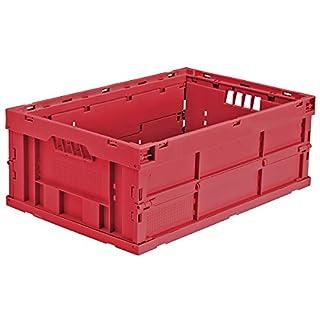 utz Faltbox aus Polypropylen - Inhalt 43 l, LxBxH 600 x 400 x 225 mm - rot, VE 4 Stk - Box Faltbox Kasten Klappbox Kunststoffbehälter Kunststoffstapelbehälter Stapelbox Stapelkasten aus Kunststoff Transportkiste aus Kunststoff Kunststoff-Sstapelbehälter