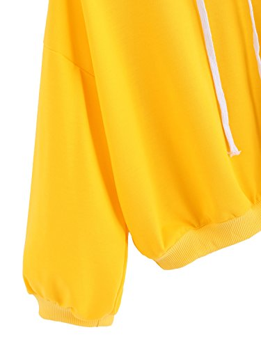 ROMWE Damen Basic Kapuzenshirt mit Rippenbündchen Kurz Pullover Hoodie Gelb