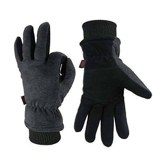 OZERO Thermo Handschuhe,Leder Warme Winter Handschuhe zum Laufen,1 Paar -