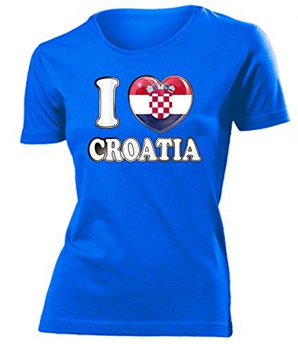 Kroatien Croatia Hrvatska Fan t Shirt Artikel 4784 Fuss Ball EM 2020 WM 2022 Team Trikot Look Flagge Fahne lopta nogomet Frauen Damen Mädchen S