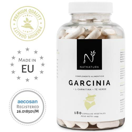Quemagrasas natural a base de Garcinia Cambogia+L-Carnitina+Té verde.La mejor fórmula Quemagrasas para adelgazar.Máxima calidad y efectividad. Fórmula con alta concentración de HCA 60%. 180 cápsulas.