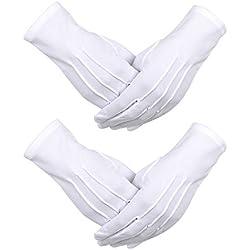 2 Paires Gants de Coton Blanc en Nylon avec Fermeture à Pression pour Policier Smoking Défilé de la Garde d'Honneur Costume Gants de Parade, 9.05 Pouces