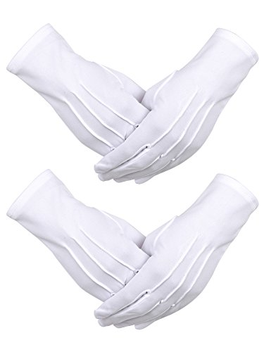 2 Paar Weiße Nylon Baumwolle Handschuhe mit Snap Verschluss für Polizei formale Tuxedo Ehrenwache Kostüm Parade Handschuhe, 9,05 (Einfache Weise Mann Kostüm)