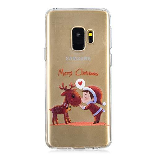 BONROY Coque pour Samsung Galaxy S9,Coque Transparente Gel Silicone TPU Souple,Housse Etui de Protection pour Samsung Galaxy S9 Transparent-(HX-Enfant et Wapiti)