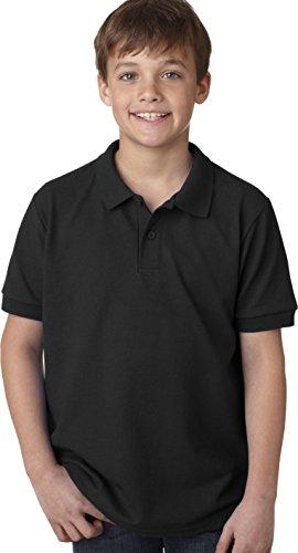 Gildan Jungen DryBlend Pique Polo Sport Shirt Schwarz - Schwarz