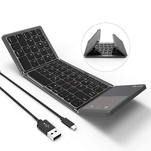 Jelly Comb Bluetooth Tastatur mit Touchpad, Faltbare Ultra-Dünne Dual-Modus Wired und Bluetooth Tastatur [QWERTZ Layout], Grau