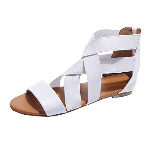 Sandalen Damen Sommer FGHYHSommer niedrige flache Ferse Flip Flops Hausschuhe Strand Sandalen Schuhe(38, Weiß) - Weiß Niedrigen Keil Sandalen,