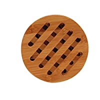 Timlatte Anti-Slip Bamboo Coaster Heat-Resistant Round Square Cup Cushion Table Protection Mat Pot Holder 4# 15cm