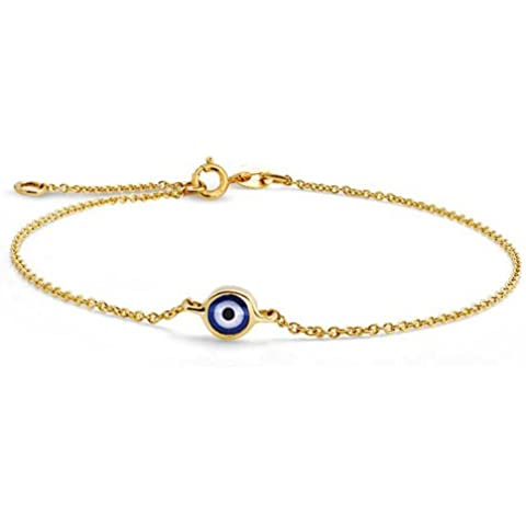 Bling Jewelry 14k oro giallo Evil Eye braccialetto registrabile da 6,5 ??pollici