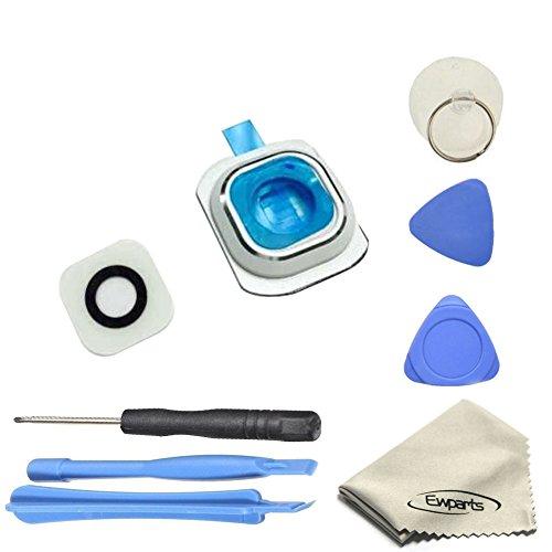 Ewparts für Samsung Galaxy S6 G920A G920T G920S G920F Kamera objektiv Hintere Kamera Glas linse Blenden Ringe + Adhesive + Reparatur-Werkzeug-Kits (Weiß)
