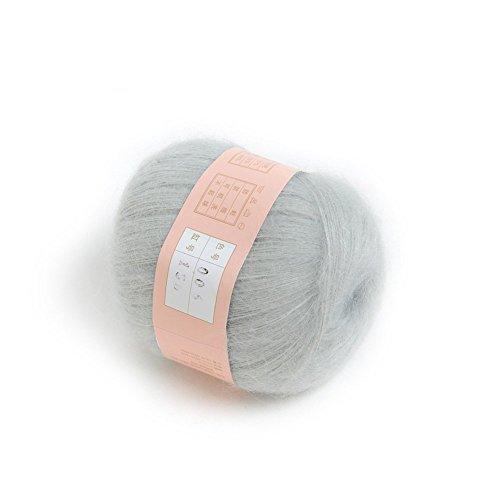 ANKKO weiche natürliche Angola Mohair Kaschmir Wolle stricken Knäuel Garn hellgrau (Natürliches Garn)
