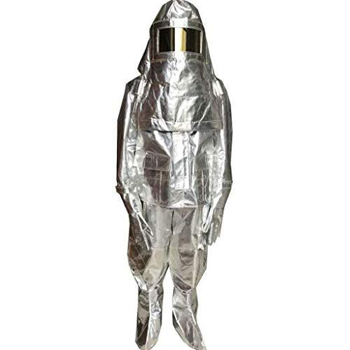 HFUE Abbigliamento Protettivo Chimico con Cappuccio Isolante in Lamina di Alluminio, Protezione ad Alta Temperatura, Anti-scottatura, Protezione dalle Radiazioni, Tuta ignifuga (Taglia: S), Large
