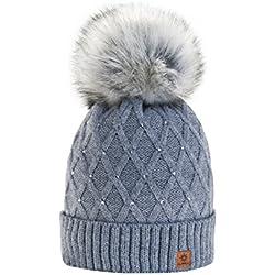 Morefaz - Gorro de invierno de forro polar para mujer con cristales y  pompón multicolor Gris 014090397f9