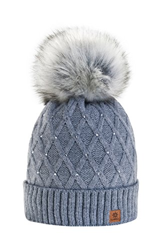 Wurm Winter Strickmütze Mütze Damen Kristalle Kiesel mit Große Pelz Bomme Pompon l SKI (Gray) ( MFAZ Morefaz Ltd)