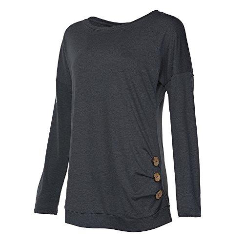 Donna Manica Lunga Camicetta - Moda Pulsante Decorato Tinta Unita Shirt con Colletto Rotondo Autunno Casual Elegante Tops Pullover S-2XL Grigio 2