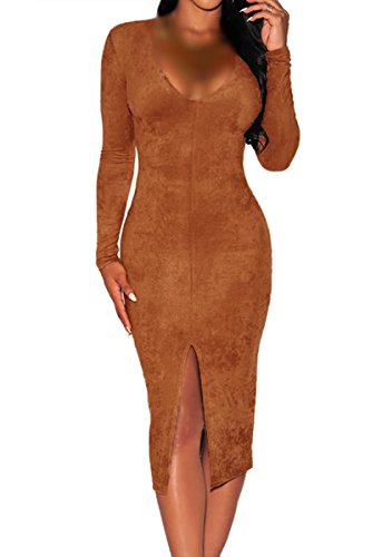 E-Girl SY60673 femme sexy robe bodycon Marron