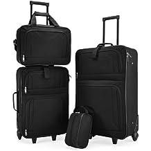 Kofferset Koffer Trolleyset ineinander STAPELBAR Gepäck Set Reisekoffer Set 4 tlg Trolley schwarz