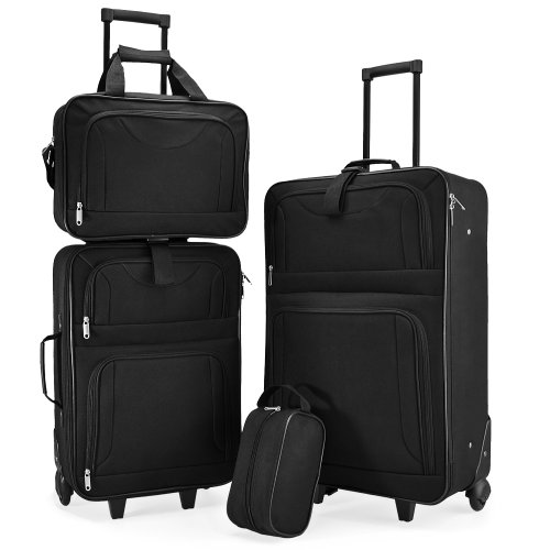 4pcs Trolley Set Suitcase Baggage Luggage Travel Bags - Stackable Black Light-weight