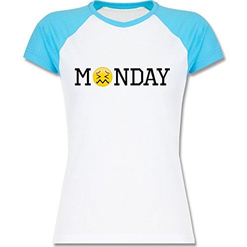 Statement Shirts - Monday Emoji - zweifarbiges Baseballshirt / Raglan T-Shirt für Damen Weiß/Türkis