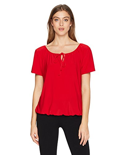 Unbekannt Star Vixen Damen Short/Slit Sleeve Keyhole-Tie Peasant Top Bubble Hem Hemd, Red Solid, Mittel -