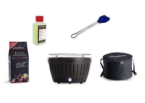 LotusGrill Kit de démarrage 1x gris anthracite 1x charbon bois hêtre 1kg, 1x Pâte brûlante 200ml, 1x Pinceau à marinade Ultra bleu marine, 1x sac transport - Le fumée PAUVRE Barbecue à / Gril table