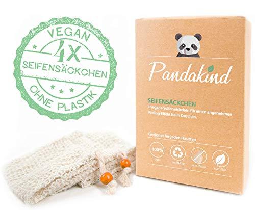 EINFÜHRUNGSANGEBOT - Pandakind [4x] plastikfreie Sisal-Seifensäckchen - 100% natürliches & ökologisches Körper-Peeling - Nachhaltige Seifenbeutel für Seifenreste