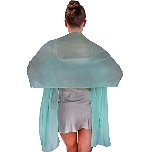 FIODAY Damenschal Chiffon Stola Schal fuer Kleider Abendkleid 180cmx45cm, Gruen (Home-kleider Für Frauen)
