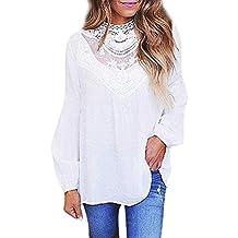 Blusa Mujers Yesmile Las Mujeres Camiseta Señoras de Las Mujeres Sexy Casual Lace O Cuello Camiseta