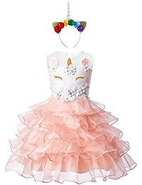 FYMNSI Costume da Unicorno Vestito Bambini Ragazza di Fiore Senza Maniche  Increspatura Tutu Tulle Principessa Carnevale e124049bc7f