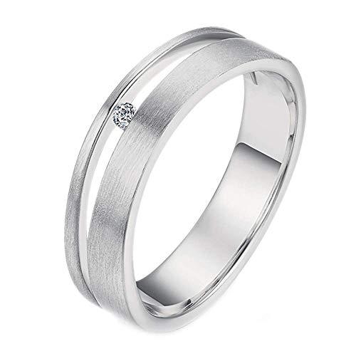 Purmy Damen Ring Weißes Gold überzogen Weiß Cubic Zirconia Gebürstet Ring Unisex Design Größe 55 (17.5)