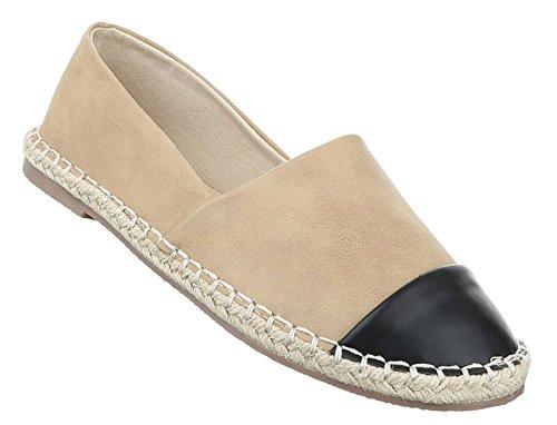 Damen Halbschuhe Schuhe Slipper Loafer Mokassins Flats Slip On Schwarz Elfenbein Blau Pink Grau Beige Weiß Gelb 36 37 38 39 40 41 Beige