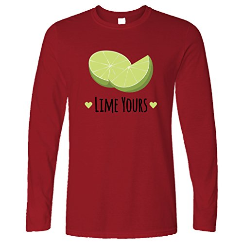 Lime Yours Nette Paare Valentines Love Heart Langarmshirt Deep Red