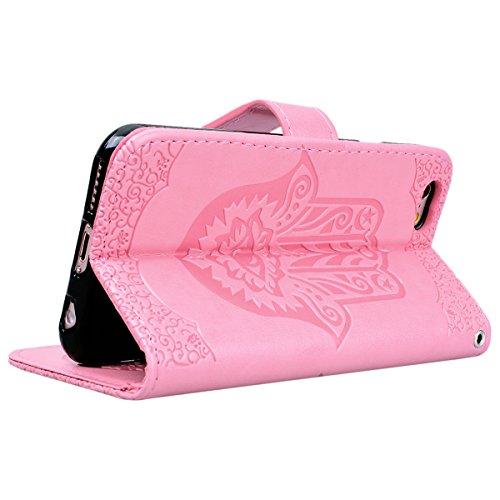 SMART LEGEND iPhone 5 5S SE Hülle Ledertasche Palme Muster Drucken Lederhülle Schutzhülle Premium PU Leder Handyhülle mit Handschlaufe Flip Wallet Case Protective Cover Innere Weiche Silikon Backcover Rosa
