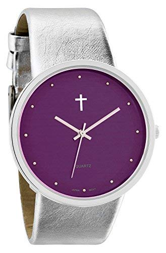 Belief Damen   Funky minimalistisch groß lila FACE Metallic Silber Band Armbanduhr mit Kreuz Logo   bf9658pr