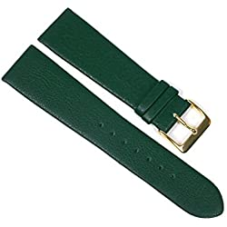 Berlin Replacement Band Watch Band Leather Kalf Strap dark green 23217G, width:10mm