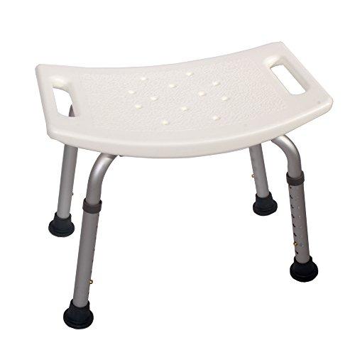Promafit Duschhocker mit rutschfestem Sitz - höhenverstellbar - Alu - Abtropflöcher - Duschsitz - Badesitz