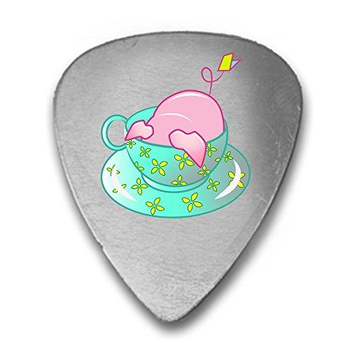 Teetasse Pig in grün Flower Teetasse Cute und Adorable 3D Farbe bedruckt Gitarre und Bass Plektrum Geschenk Silber