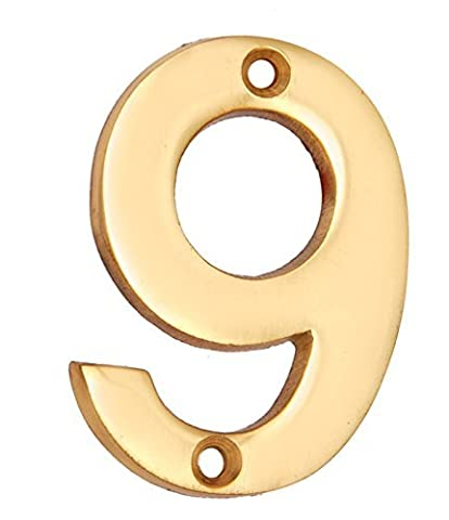 "Adonai Hardware 2"" Broad Brass Numeral ""9"""