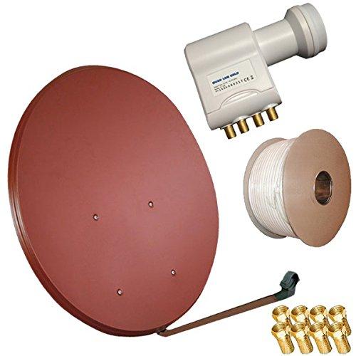 Bundle by netshop 25 Sat Anlage 100cm Spiegel + HD Quad LNB + 50m Kabel für 4 Teilnehmer (3 Farben wählbar)