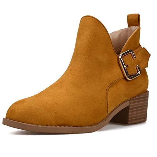 Fenghz-Shoes Schuhe Mode Chelsea-Stiefel für Damen Verstellbare seitliche Schnalle Niedrig gestapelt (Color : Gelb, Size : 39 EU) -
