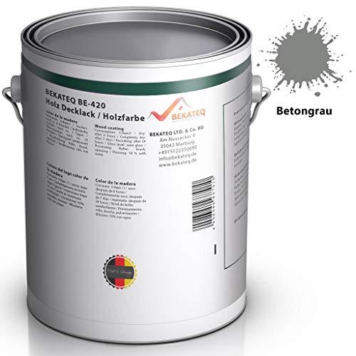 BEKATEQ BE-420 Holzlack seidenmatt, 10L Betongrau, Holzfarbe, Holzschutzfarbe auf Wasserbasis, Holzversiegelung Geruchsarm