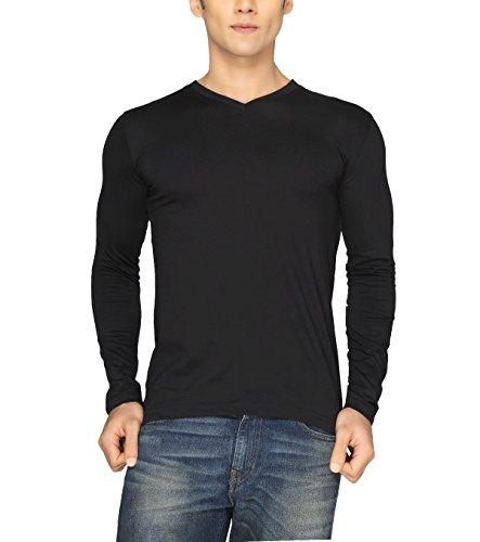 Joke Tees Solid Men's Perfect Vee Long T-Shirt(Black) (Large)
