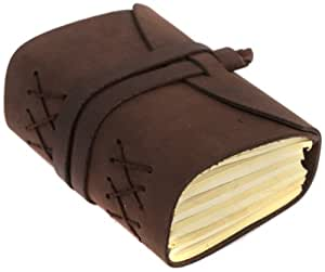 INDIARY Luxusnotizbuch Tagebuch aus echtem Leder und handgeschöpftem Papier Wild-A6 – Braun